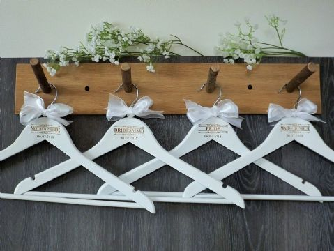 Personalised White Wooden Wedding Hangers Set of 7 with Bow - Scroll